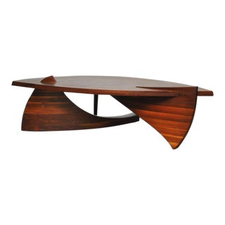 Sculptural Stacked Walnut Coffee Table by American Craftsman H. Wayne Raab For Sale
