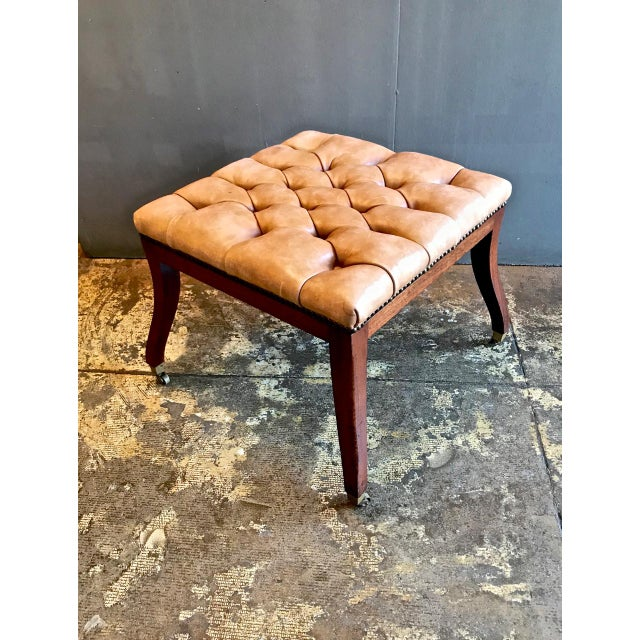 Regency-Style Tufted Leather Bench For Sale - Image 4 of 6