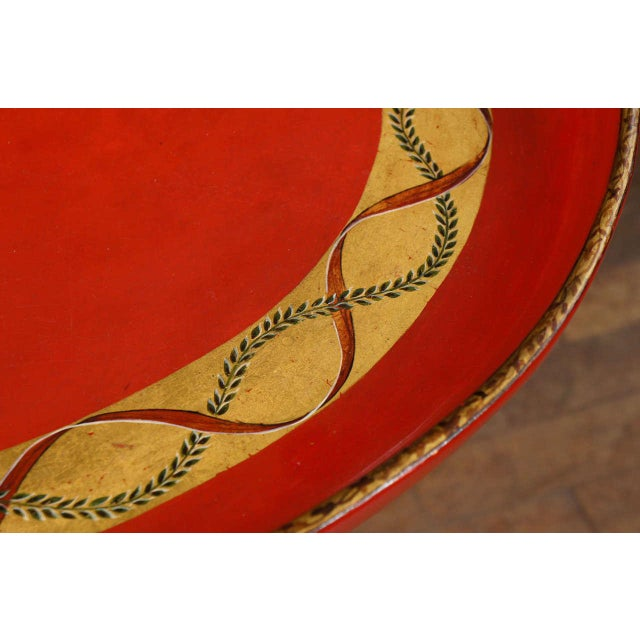 1970s Mid-Century Modern Scarlet & Gilt English Wooden Tray Coffee Table For Sale - Image 4 of 7
