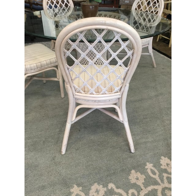 Vintage Bamboo Round Dining Table and Four Chairs For Sale - Image 4 of 11