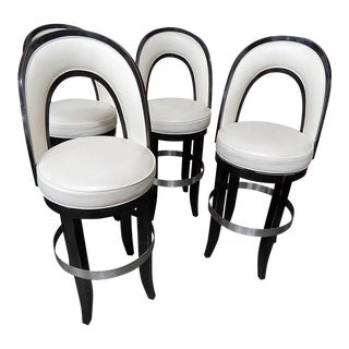 Mid-Century Modern Swiveling Bar Stools - Set of 4 For Sale