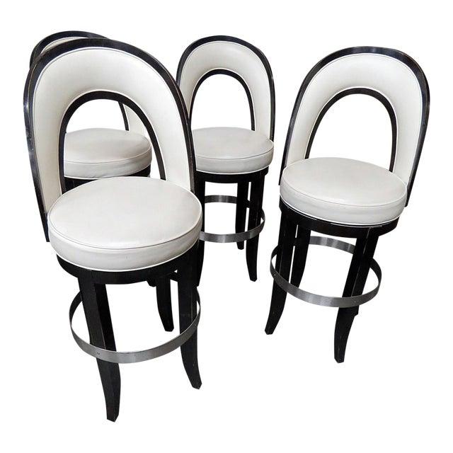Mid-Century Modern Swiveling Bar Stools - Set of 4 For Sale