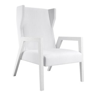 Mariposa Wingback Chair - White Open Pore Oak For Sale