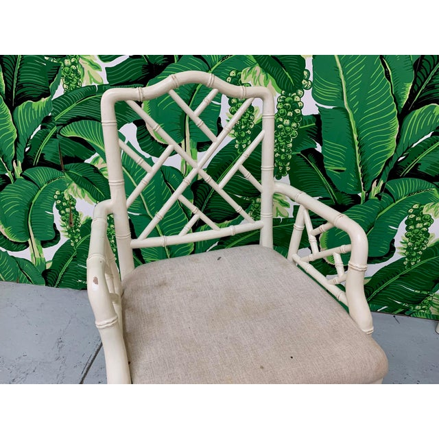 Faux Bamboo Chinese Chippendale Dining Chairs Set of 6 For Sale - Image 6 of 9
