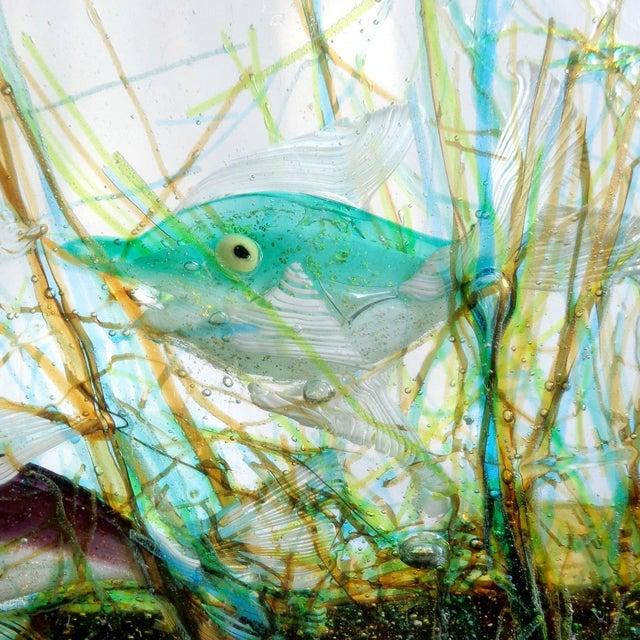 Murano Cenedese Murano Three Fish Italian Art Glass Aquarium Block on Lighted Base For Sale - Image 4 of 8