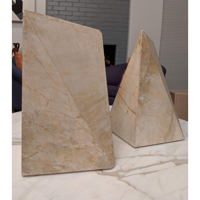 Contemporary Geometric Marble Sculptures, a Pair For Sale - Image 3 of 9