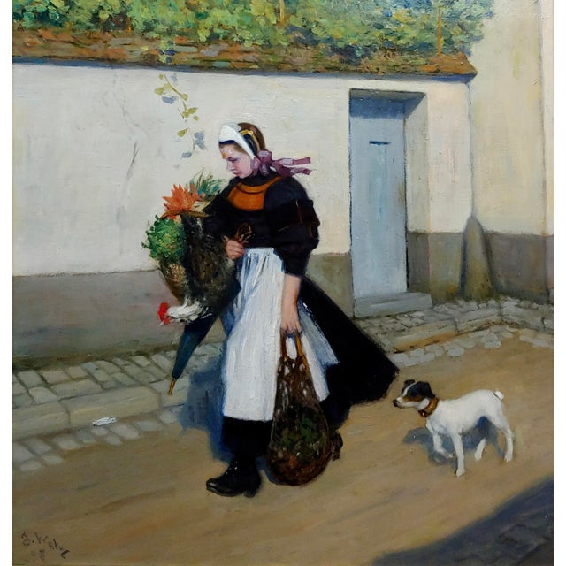 Illustration Jacques Wely -Woman & Her Jack Russel Dog Coming From the Market-Oil Painting For Sale - Image 3 of 13