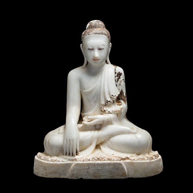 Marble Sculpture of the Seated Buddha For Sale In Los Angeles - Image 6 of 6
