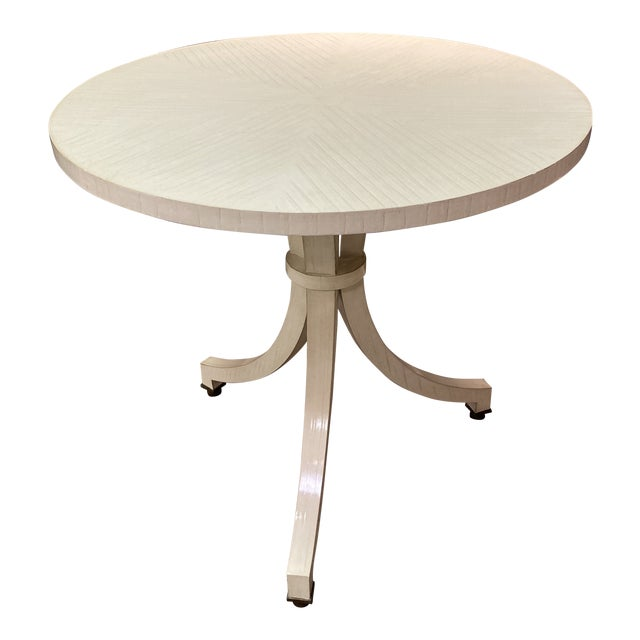 White Circular Top Side Table For Sale