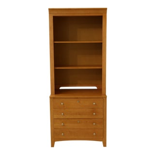 Stanley 2 Piece Shaker Style Maple Hutch File Cabinet For Sale