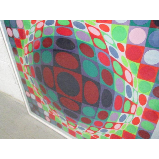 "Framed, color screen-print on silk scarf. Untitled. 138/150. Measures: 37"" W x 36.5"" H."