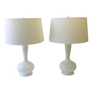 Murano White & Silver Fleck Glass Lamps - A Pair