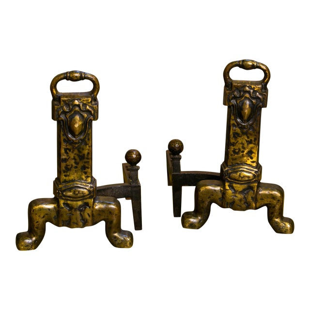 Pair Unusual Belgian Arts and Crafts-Style Bronze Andirons from Belgium, circa 1930 For Sale