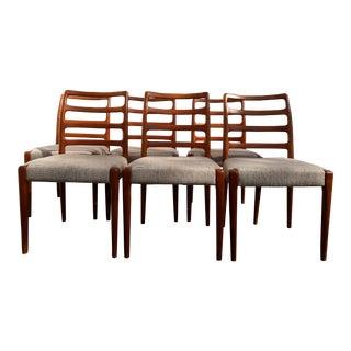 1970s Vintage Moller Design Teak Danish Modern Chairs- Set of 6 For Sale