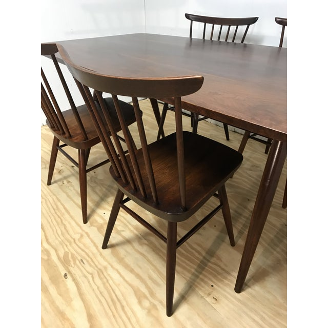 George Nakashima Mid-Century Modern American Studio Craft Solid Walnut Dining Set - 5 Pieces For Sale - Image 4 of 13
