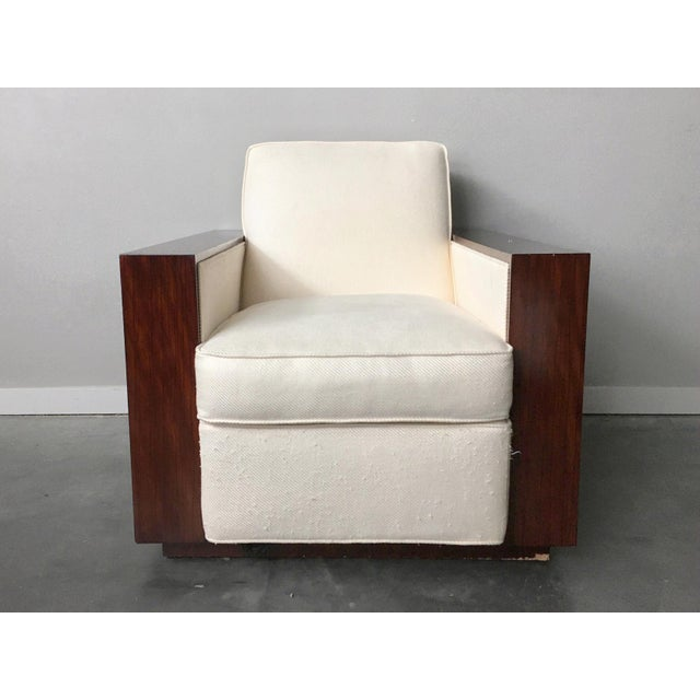 Contemporary art deco rosewood club chair made by Henredon for the Ralph Lauren Metropolis Collection. Stunning rosewood...