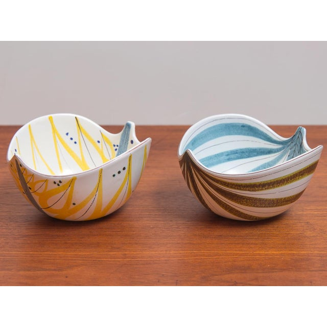 1950s Stig Lindberg for Gustavsberg Faience Leaf Bowls - a Pair For Sale - Image 11 of 11
