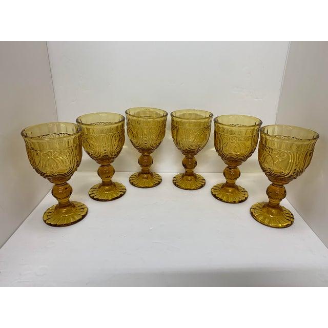 Vintage 1940's Amber Glass Goblets - Set of 6 For Sale - Image 12 of 13