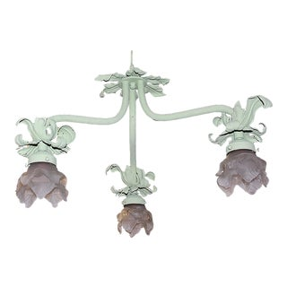 1920s Painted French Wrought Iron Chandelier For Sale