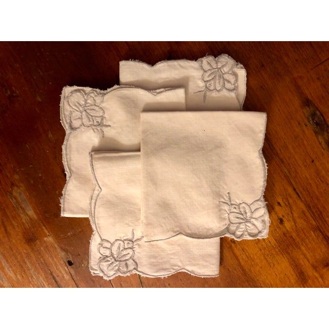Precious vintage cocktail napkins in beige - a set of four. Shabby chic! Each has a corner adorned with a gray floral...