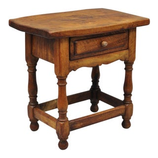 Small Antique Country Primitive Pine Wood One Drawer Side Table Work Stand