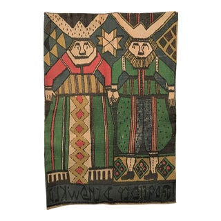 Mid-Century Runni Tekstilrykk Norwegian Tapestry Reproduction Print on Jute For Sale