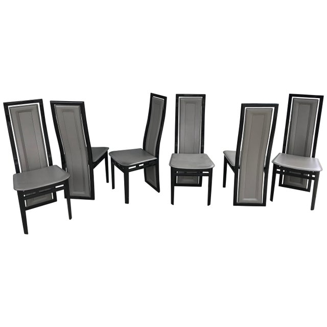 Black Lacquer Dining Room Chairs: Italian Modern Black Lacquer And Grey Leather Dining