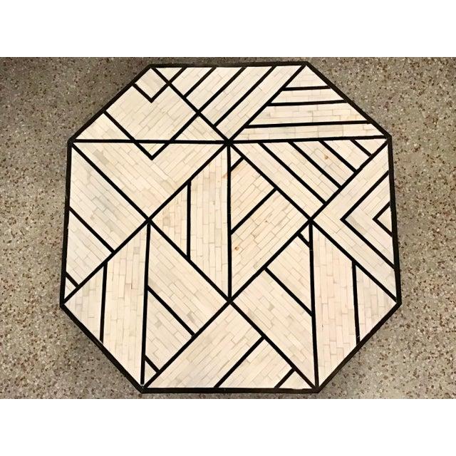Wood Modern Tessellated Bone Inlay Geometric Coffee Table For Sale - Image 7 of 11