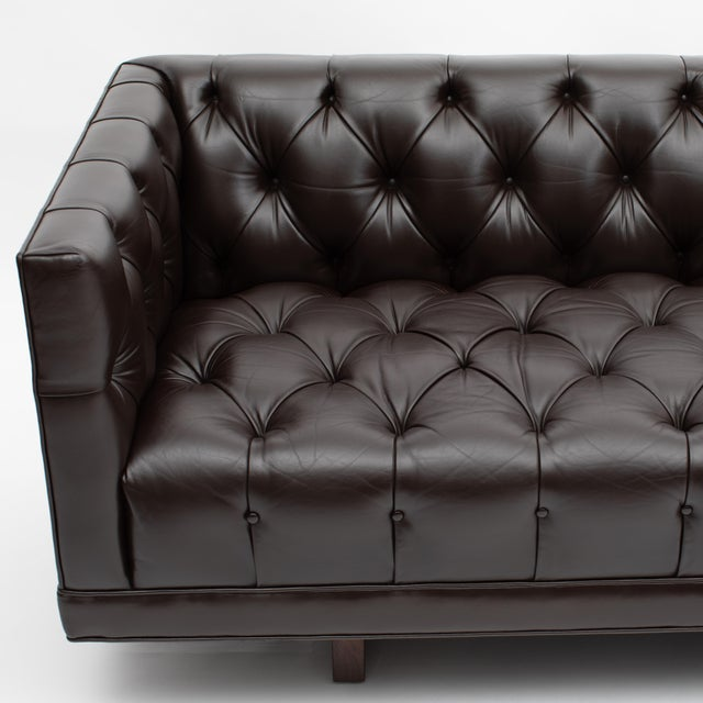 Lehigh Furniture Company Ward Bennett Button-Tufted Leather Sofa for Lehigh Furniture, Circa 1960s For Sale - Image 4 of 13