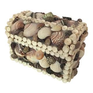 1960s Boho Chic Sea Shell Treasure Box For Sale
