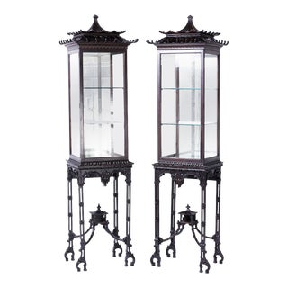 19th Century Pagoda Display Cases - A Pair For Sale