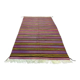 1960s Vintage Handmade Turkish Wool Kilim Rug - 5′7″ × 10′5″ For Sale