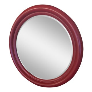 1960s Vintage Beveled Round Red Mirror For Sale
