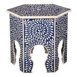 Image of Imperial Beauty Moroccan Accent Table in Indigo For Sale