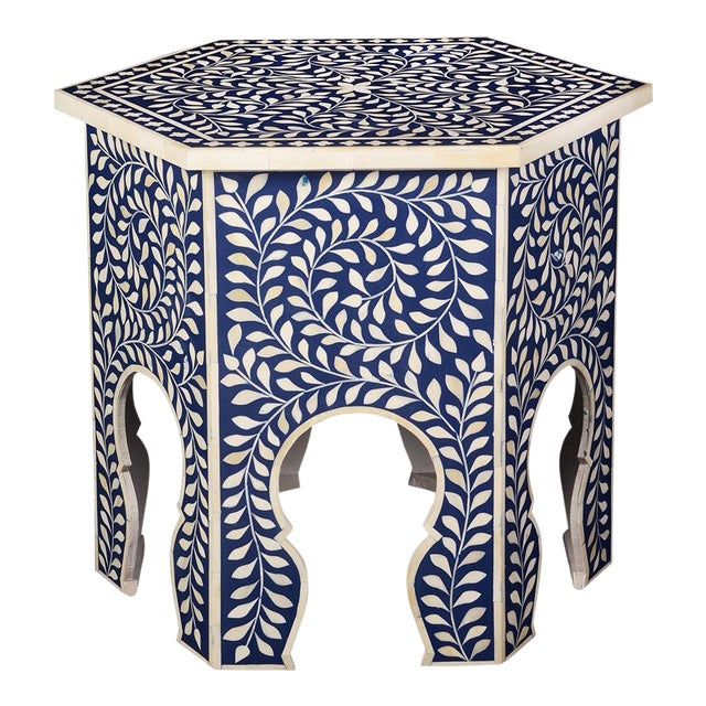 Imperial Beauty Moroccan Accent Table in Indigo For Sale