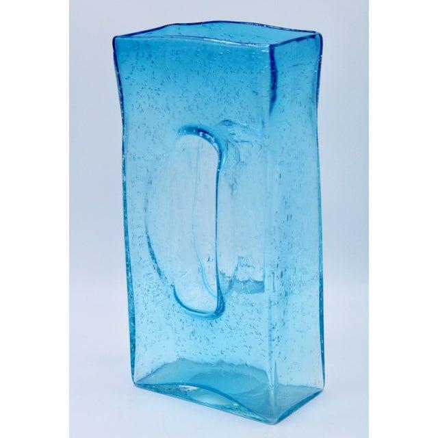 Blenko Large Mid Century Modern Aqua Blue Rectangular Glass Vase For Sale - Image 4 of 13