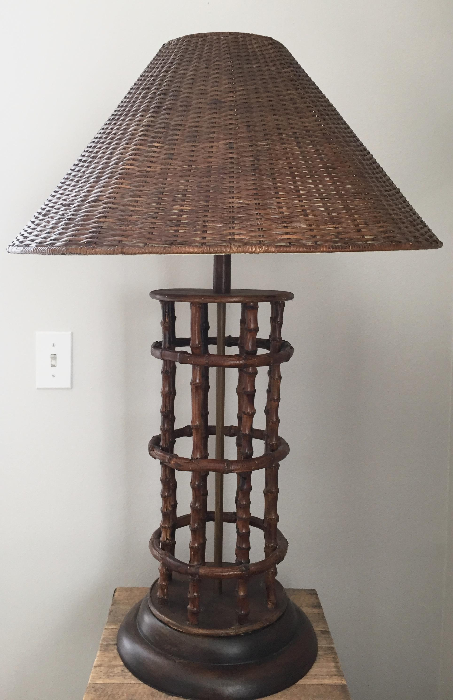Vintage Rattan U0026 Bamboo Table Lamp   Image 2 ...