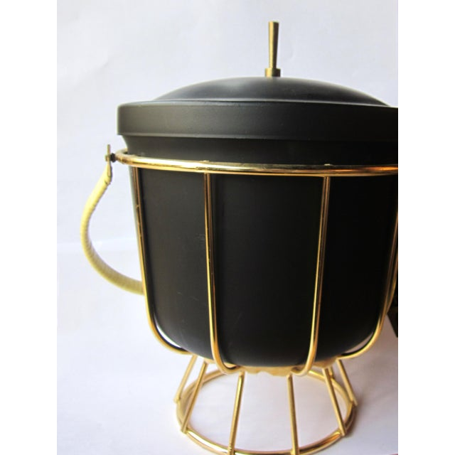 Mid-Century Modern Vintage 1950s Ernest Sohn Creations Matte Black and Gold Ice Bucket For Sale - Image 3 of 10