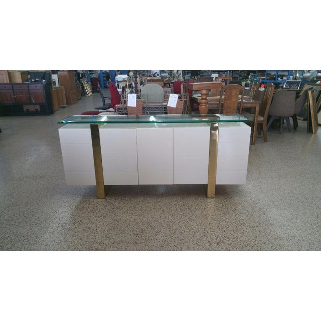 Lacquer & Brass Sideboard Floating Glass Top For Sale - Image 12 of 12