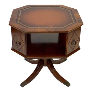 Mid 20th Century Mahogany Octagonal Two Tier Leather Top Side Table For Sale