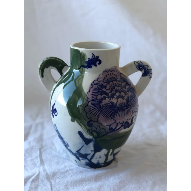 Contemporary Ceramic Chrysanthemum Vase With Handles For Sale In New York - Image 6 of 6