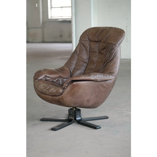 Danish Mid-Century Brown Leather Egg Chair with Ottoman by H. W. Klein For Sale In New York - Image 6 of 13