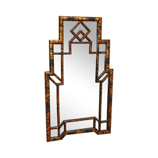 Carvers Guild Faux Tortoise Shell Painted Asian Inspired Wall Mirror For Sale