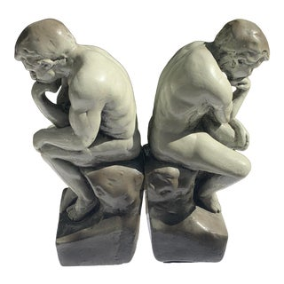 Vintage Ceramic Faux-Stone Glazed Thinking Man Bookends- a Pair For Sale