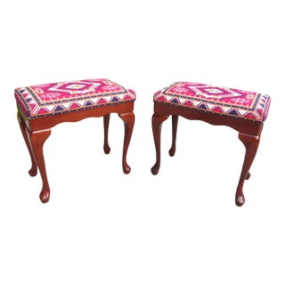 Vintage Mahogany Queen Anne Needlepoint Benches - a Pair For Sale