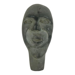 Vintage Mid-Century Modernist Soapstone Face Wall Sculpture For Sale