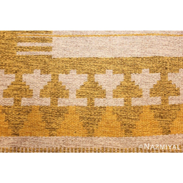 Mid-Century Modern Vintage Double Sided Swedish Kilim Rug - 4′6″ × 6′4″ For Sale - Image 3 of 11