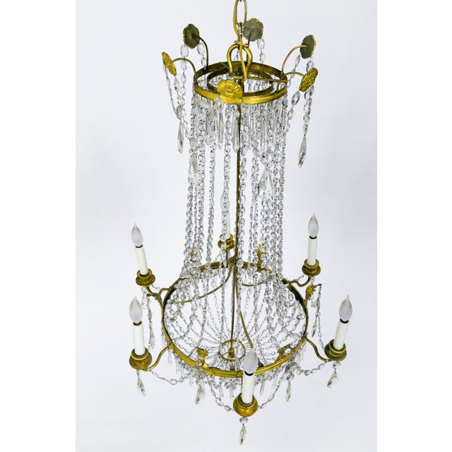 1920s Regency Tent and Bag Crystal Brass Chandelier For Sale - Image 4 of 11