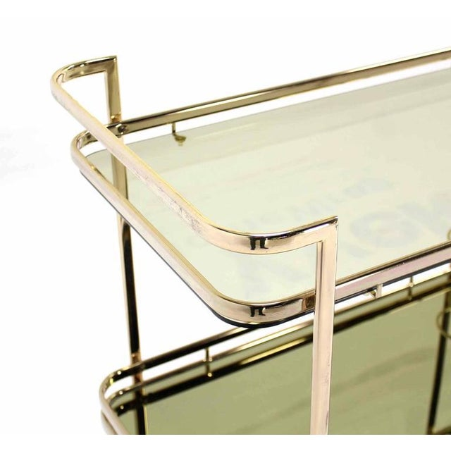 Brass Smoked Glass Gold or Brass Finish Tea or Bar Italian Cart For Sale - Image 7 of 8