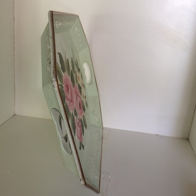 Shabby Chic Hand Decorated Light Green Metal Tole Tray With Pink Roses by Pilgram Art For Sale - Image 3 of 13